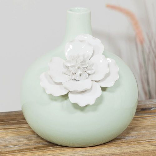 Pale Pastel Green Ceramic Vase With White Flower Home Ornament